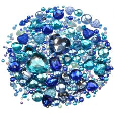 Mixed Pack of BLUE Gems and Diamante Embellishments